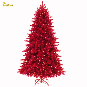 Teellook 1.2 m / 3.0 m wine red PVC luminous Christmas tree Christmas day hotel shopping mall home decorations