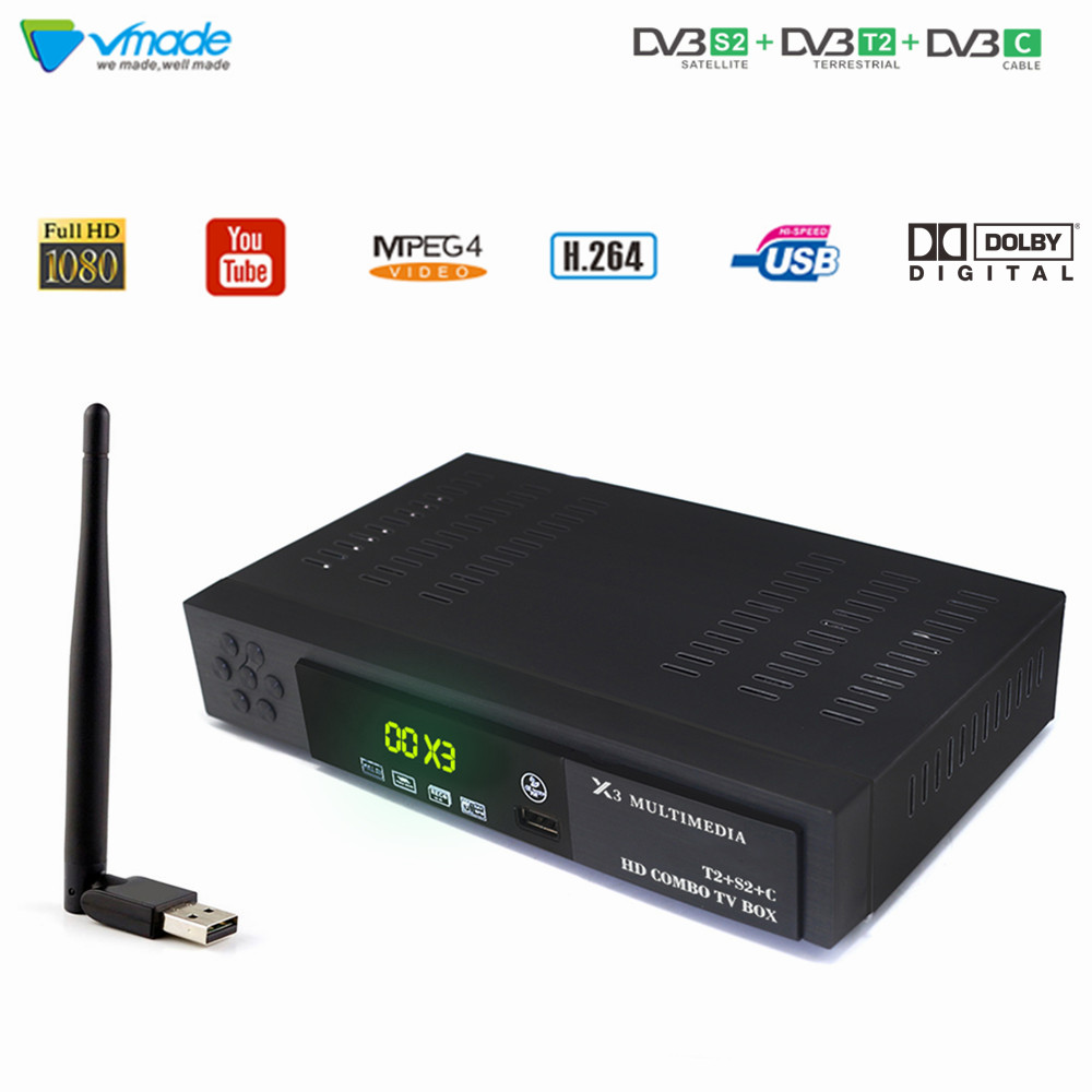 DVB-T2 DVB-S2 + DVB-C Combo TV Tuner With USB WIFI Digital Satellite Receiver Support IPTV Youtube AC3 Cccam Terrestrial TV Box