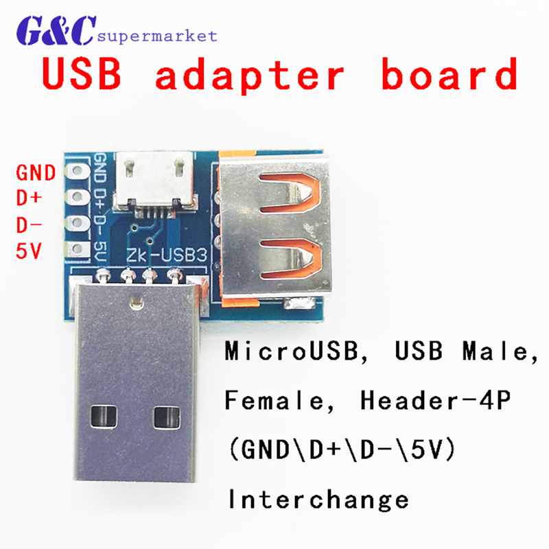 DC 5V Type-C 2.54mm USB Converter Female to Male Micro USB 4P Terminal Adapter