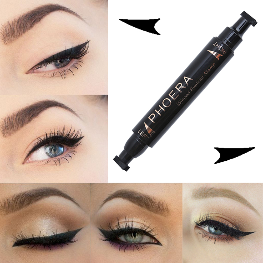 PHOERA 1 PC Double End Seal Liquid Eyeliner Pencil Quick Dry Waterproof Wing Stamp And Eyeliner Eyeshadow Brow Makeup Brush free shipping 3 pp eyeliner liquid empty pipe pointed thin liquid eyeliner colour makeup tools lfrosted purple
