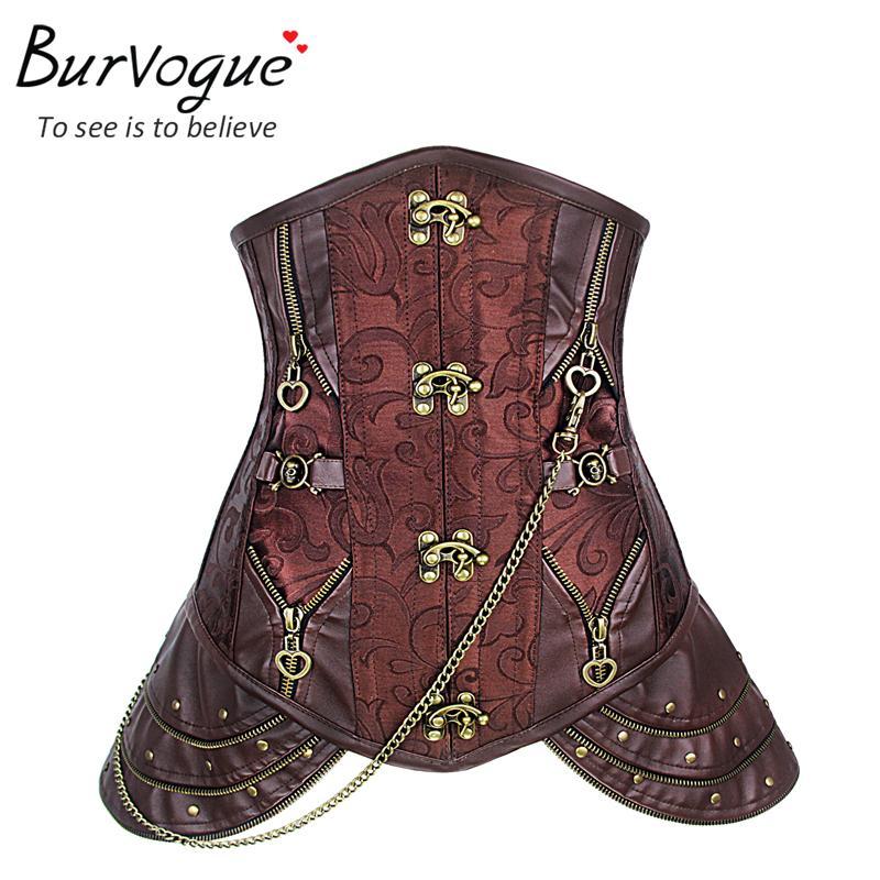 Burvogue Women Steampunk   Corset   Waist Control   Corset   and   Bustier   Top Waist Cincher   Corset   Underbust Sexy Gothic Leather   Corset