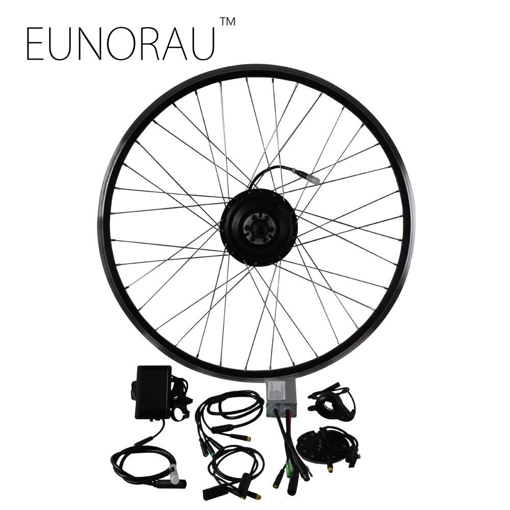 36V250W kit moteur de moyeu de vélo électrique avant kit de conversion de vélo e frein à disque avec jante noire 20/24/26/27.5/28 pouces