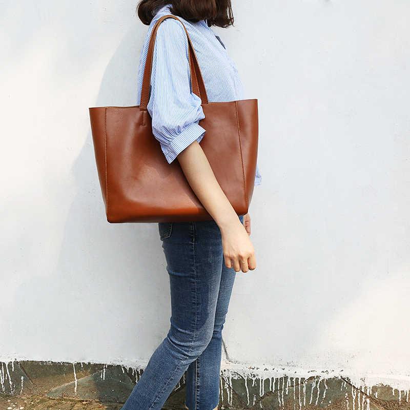 Bolsa feminina de luxo couro genuíno bolsa feminina casual totes senhora macio couro compras bolsa ombro simples moda nova