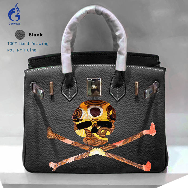 Gamystye Custom painting graffiti Genuine Leather Handbags Luxury Designer Yellow Skull pattern Women Casual Art Design Bags trendy graffiti pattern and tassels design satchel for women