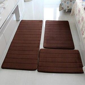 Image 2 - Alfombra moderna de espuma viscoelástica para baño tapete antideslizante para baño, felpudo para sala de estar, cocina, juego de 3 unidades