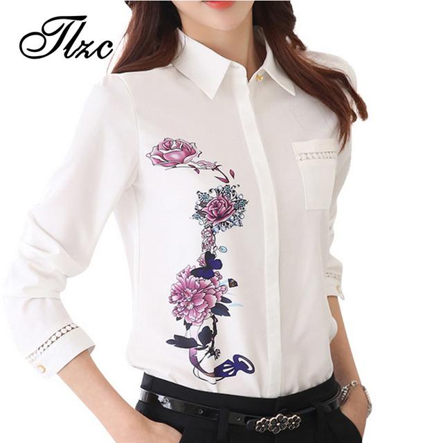 Tlzc 2017 senhora do escritório camisas teste padrão de flor do vintage da moda mulheres blusa tamanho s-3xl gola virada para baixo doce senhora camisas brancas