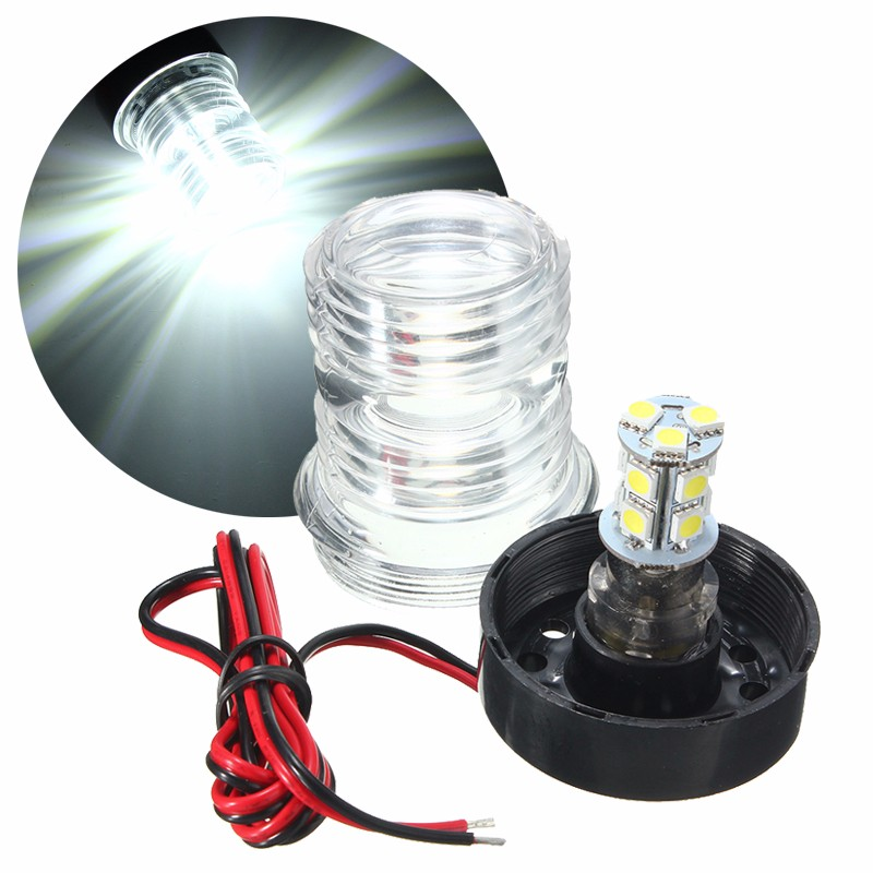 Marine Boat Yacht Navigation Anchor Light 2.6W 13 LED 5050 SMD All Round 360 Degree Vessel Light Pure White Waterproof DC12V