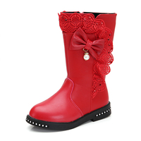 Kids Non Slip Mid Calf Boots Girls Butterfly Knot Sweet Lace Shoes Children Round Toe Winter Warm Fashion Boots AA60219