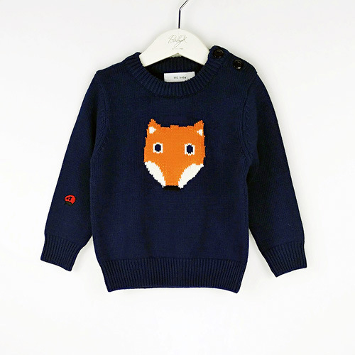 2016 New Autumn Winter Kids Tiny Cotton cartoon fox Sweaters For Boys Girls Baby Sweater Knit Children Cloth