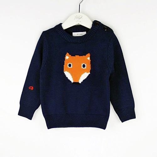 2016 Nova Outono Inverno Crianças Algodão Pequena raposa dos desenhos animados Camisolas Para Meninos Das Meninas Do Bebê Camisola de Malha Crianças Pano