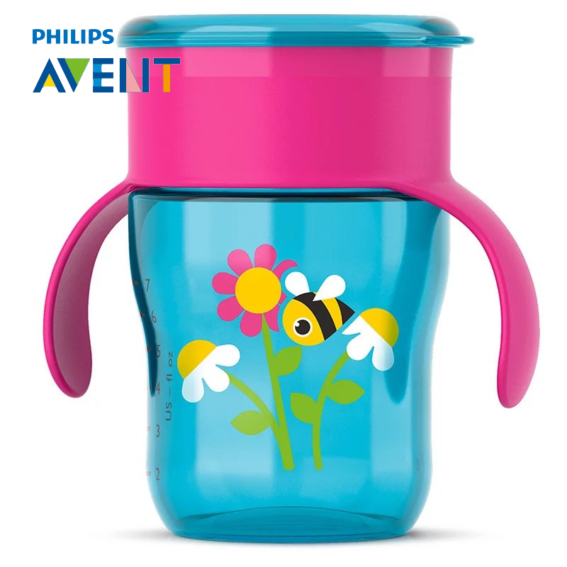 AVENT 260ml/9oz BPA Free Cartoon Toddler Sippy Cups Water Bottle with Handles Kids Spoutless Cup for 9m+ Baby Travel School 240ml baby trainer feeding bottle straw cup baby kids children drinking bottle sippy cups with handles