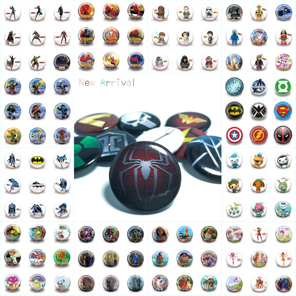 Home & Garden Lovely 18pcs/lot Super Heroes Mario Moana Cartoon Accessory Badges Pins On Cloth/bag Decoration Buttons Brooch Kid Gift Party Supplies