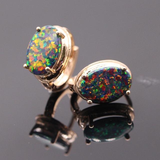 Romântico Rodada Multicolor zircon & Multicolor Opal de Fogo Charme Banhado A Ouro Brinco 6 cores de Presente de Natal