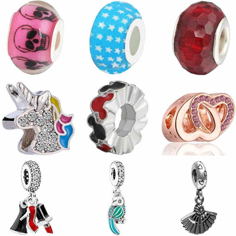 New Fashion Crystal Bear Cup Bell Car Bird Unicorn Squirrel Mickey Fit Original Pandora Charms Beads for Women DIY Jewelry