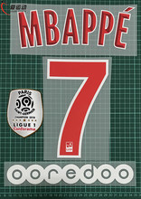 2018-19 MBAPPE #7 home name anzahl SET + Ligue 1 champion PATCH + OOREDOO Paris MBAPPE #7 nameset(China)