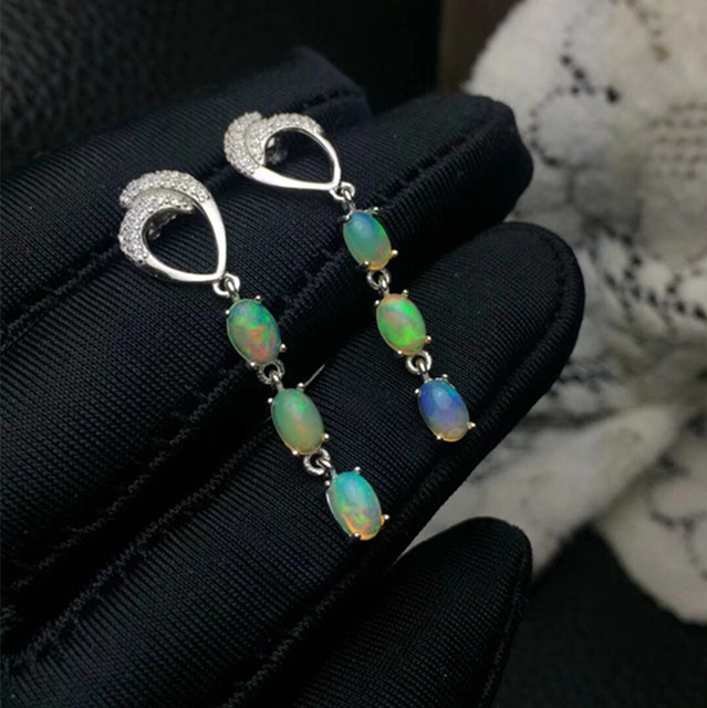 Fashion nature Opal Earrings 925 Sterling Sliver Jewelry For Women