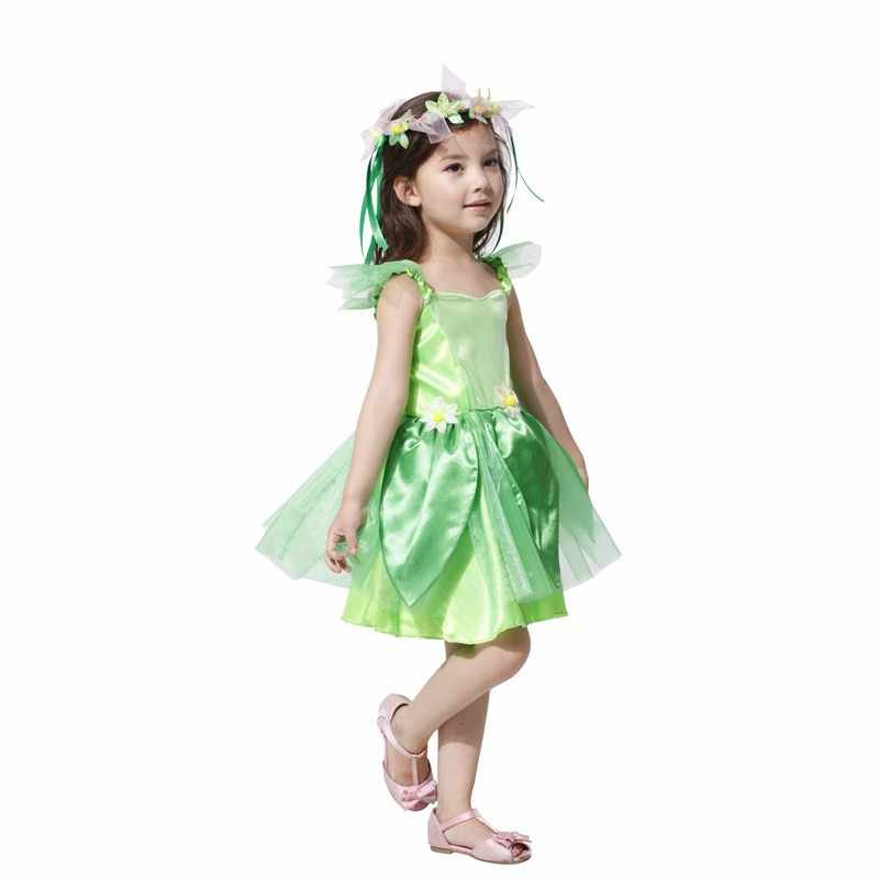 ... Girls Green Fairy Tinkerbell Costumes Halloween Dress Avenue Neverland  Garden Fairy Kids Costume Lovely Woodland Dress ...