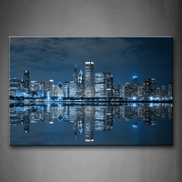 Framed Wall Art Pictures Blue Buildings Chicago Canvas Print City Posters With Wooden Frames For Home Living Room Decor