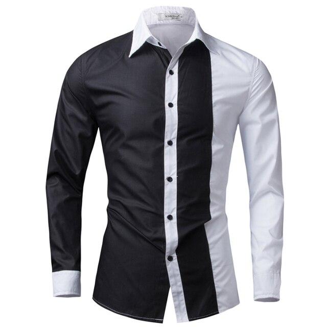 e137b10bb439e T-bird marque 2018 hommes chemise noir et blanc robe chemise à manches  longues Slim