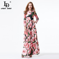 High Quality 2017 Summer Runway Maxi Dress Women S Long Sleeve Boho Sexy Rose Floral Printed