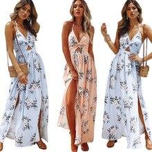 цена на High Slit Sling V-neck Dress Flower Backlessbeach Dress Boho Vestidos Verano 2019 Summer Dress Maxi Sexy Mori Girl  50j184