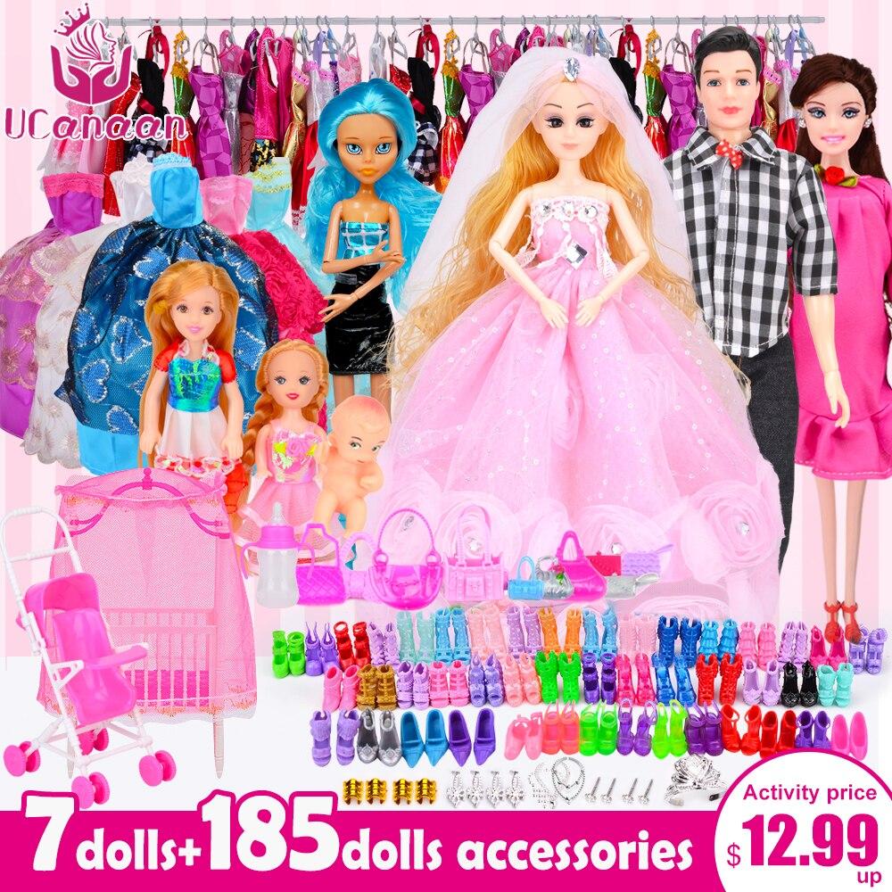 UCanaan bricolage Dressup filles jouets ensemble princesse poupée pour enfants mobile articulé corps Super Multi accessoires pour 30 CM poupées