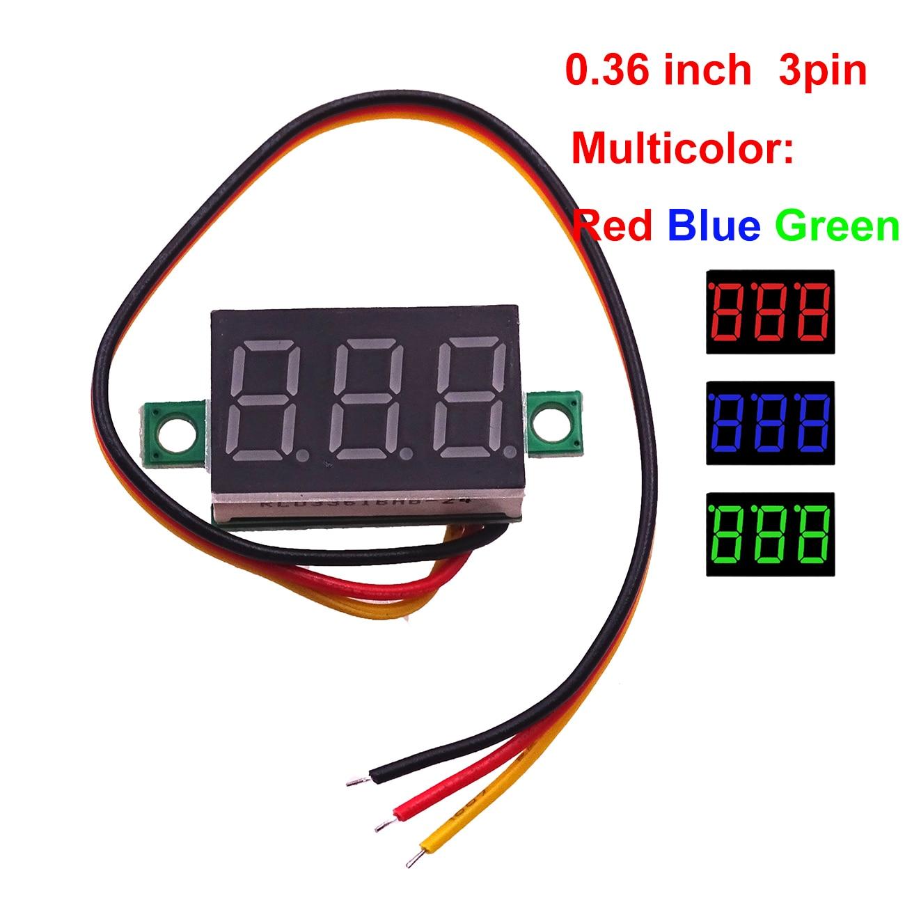 Mini voltmètre LED rouge 30V  câble test LCD digital