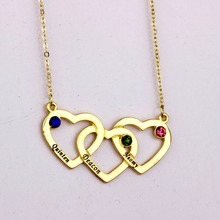 Intertwined Hearts Necklace with Birthstones 2016 High Quality Long  Necklaces for Men and Women YP2499
