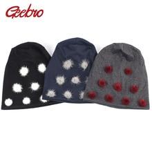 Beanie Hat Pompom Skullies Winter Cotton Women's Geebro with Plain Slouchy Chapeau Mink-Fur