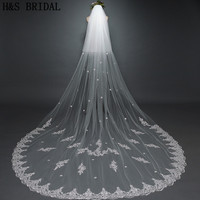 H&S BRIDAL Veil Luxurious Lace Flower Wedding Veil 3M Long Tail Appliques Romantic Sweet Bridal Veils Wedding Accessories