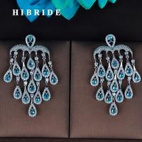 HIBRIDE Luxury Tassel Dangle Drop Earrings Top Quality Cubic Zirconia Brincos For Women Unique Jewellery Wholesale Price E-796