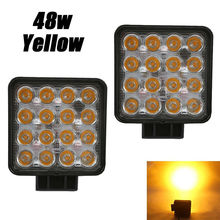 4.5 inch Amber Yellow 3000K 48W Led Work Light 12V 24V Off Road Car Auto Led Lamp Offroad ATV 4x4 Lights Foglamp Headlight Fog amber yellow white high power 4x4 car offroad 17 inch 18 inch 252w led light bar work light 12v 24v 24 months warranty