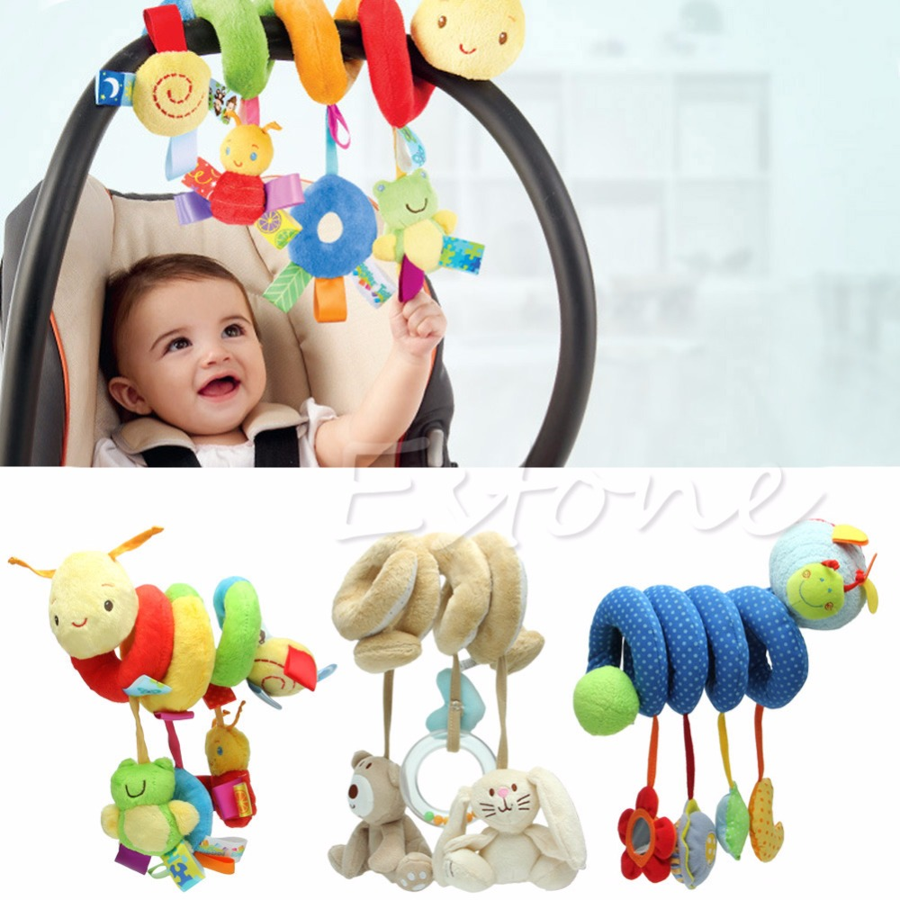 New Activity Spiral Stroller Car Seat Travel Lathe Hanging font b Toys b font Baby Rattles