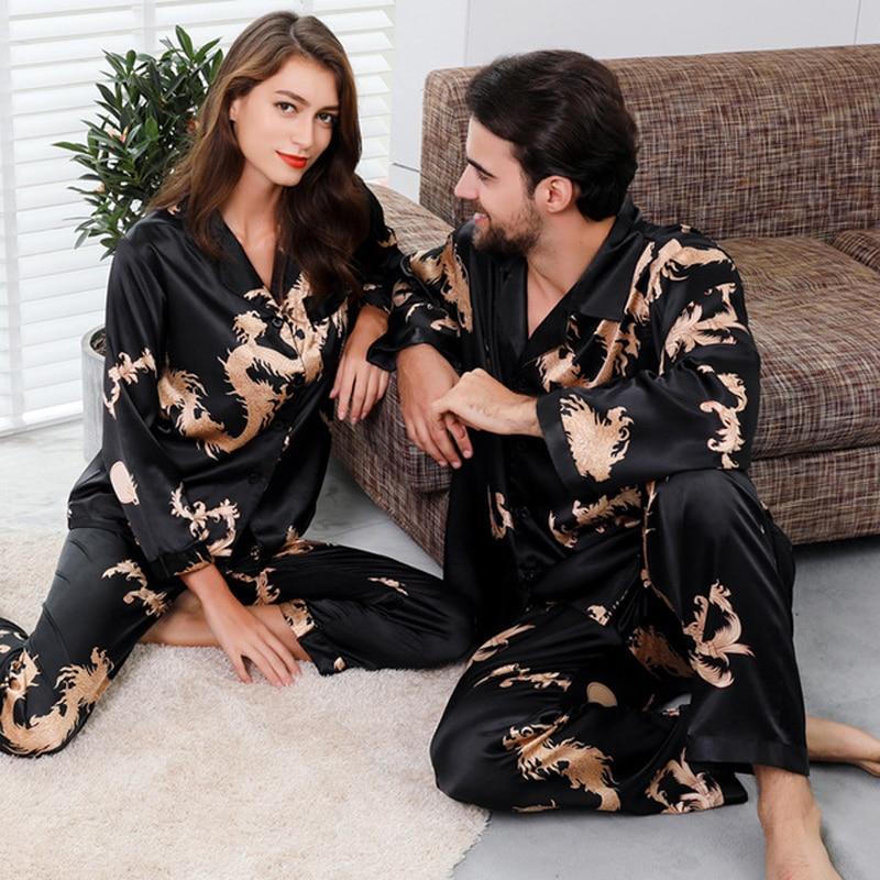Suit Pyjamas-Set Sleepwear Couple Plus-Size Women Satin Silk Man And