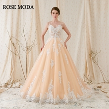 Rose Moda Gorgeous Alencon Lace Wedding Ball Gown 2019 Champagne Dress with Ivory Laces Real Photos
