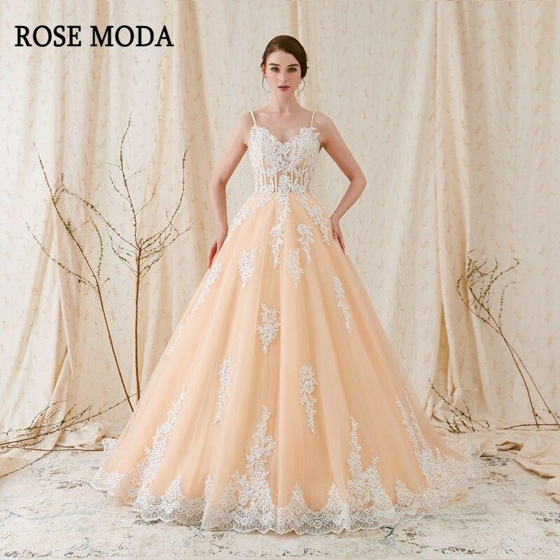 Rose Moda Magnifique Alençon Dentelle De Mariage robe de Bal 2018 Champagne De Mariage Robe avec Ivoire Lacets Réel Photos
