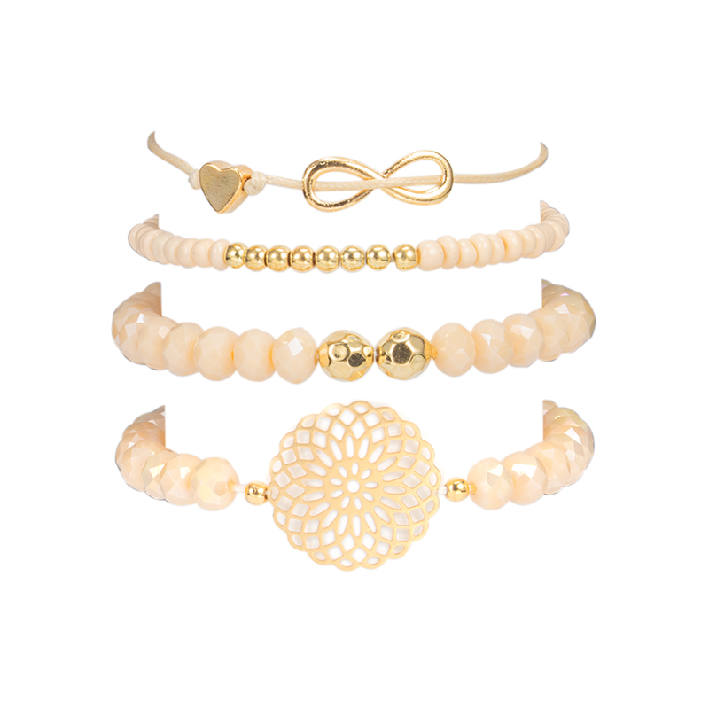 docona Boho Heart Orange Beadeds Bracelet Set for Women Flower Chains Adjustable Bracelet Bangle Pulseiras Party Jewelry 4019 2