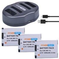 PowerTrust NB 11L NB 11L 3Pcs 1200mAh NB11L Camera Battery Dual USB Charger For Canon IXUS