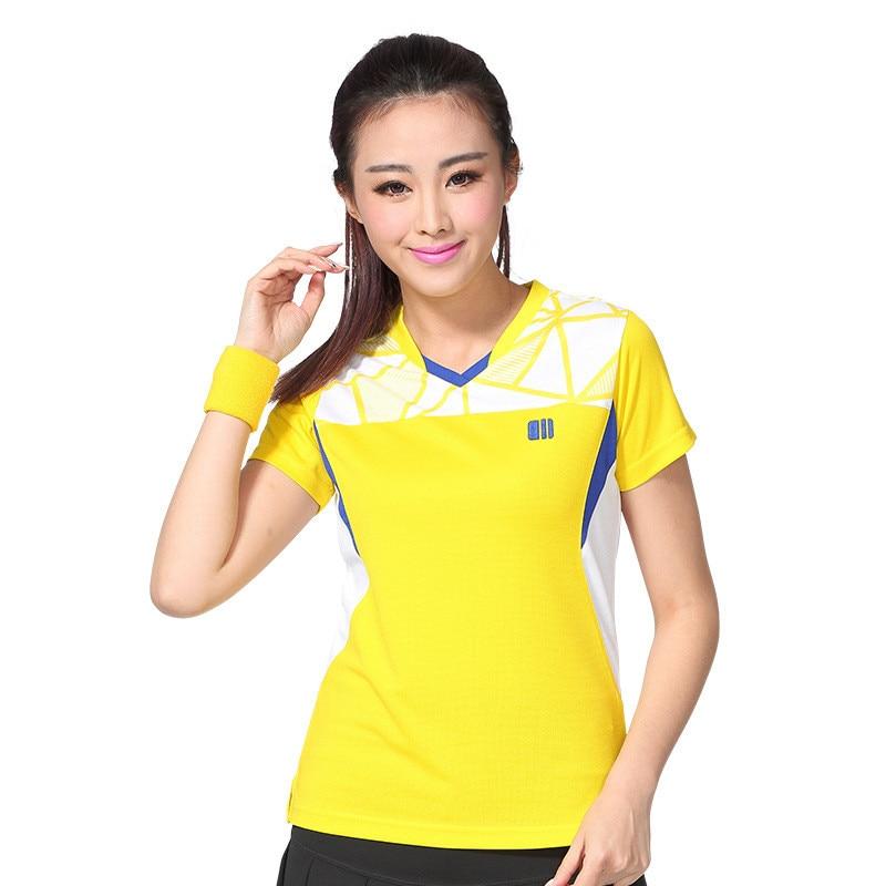 Femme séchage rapide Badminton t-shirt col rond respirant Pingpang uniforme Tennis Top 2016 nouveau modèle