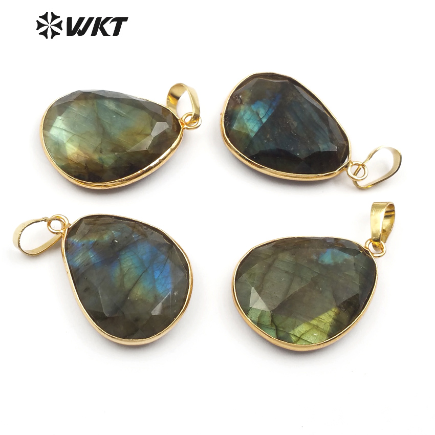 WT P718 fashion high quality natural labradorite pendant 24k gold trim labradorite pendant