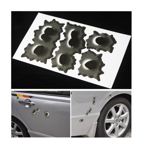 buy 6 big holes fake bullet hole car auto motor symbol stickers decals. Black Bedroom Furniture Sets. Home Design Ideas