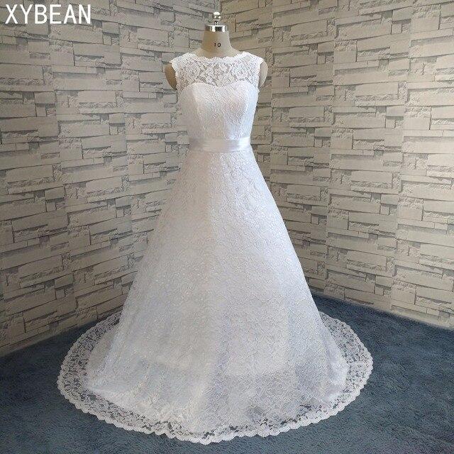 2019 Nova Frete Grátis lace manga cap caixilhos A Linha Branca/Marfim Vestidos de Casamento FS087
