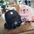 2016 Children Rivet  Bag Pu Leather Backpack  Boys/Girls pentagrams Backpacks Woman Mini Bag