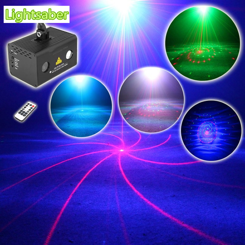 ФОТО New Mini Led Laser Stage Lighting Red Green 12 IN 1 Projector Water Galaxy Effect Color RGB DJ Party Professional Light