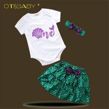a38e77687c640 Toddler Girls Summer Clothing Bebe Girl Little Mermaid Dress Newborn Shell  Romper Ariel Tutu Skirt Baby Headband Clothing Set