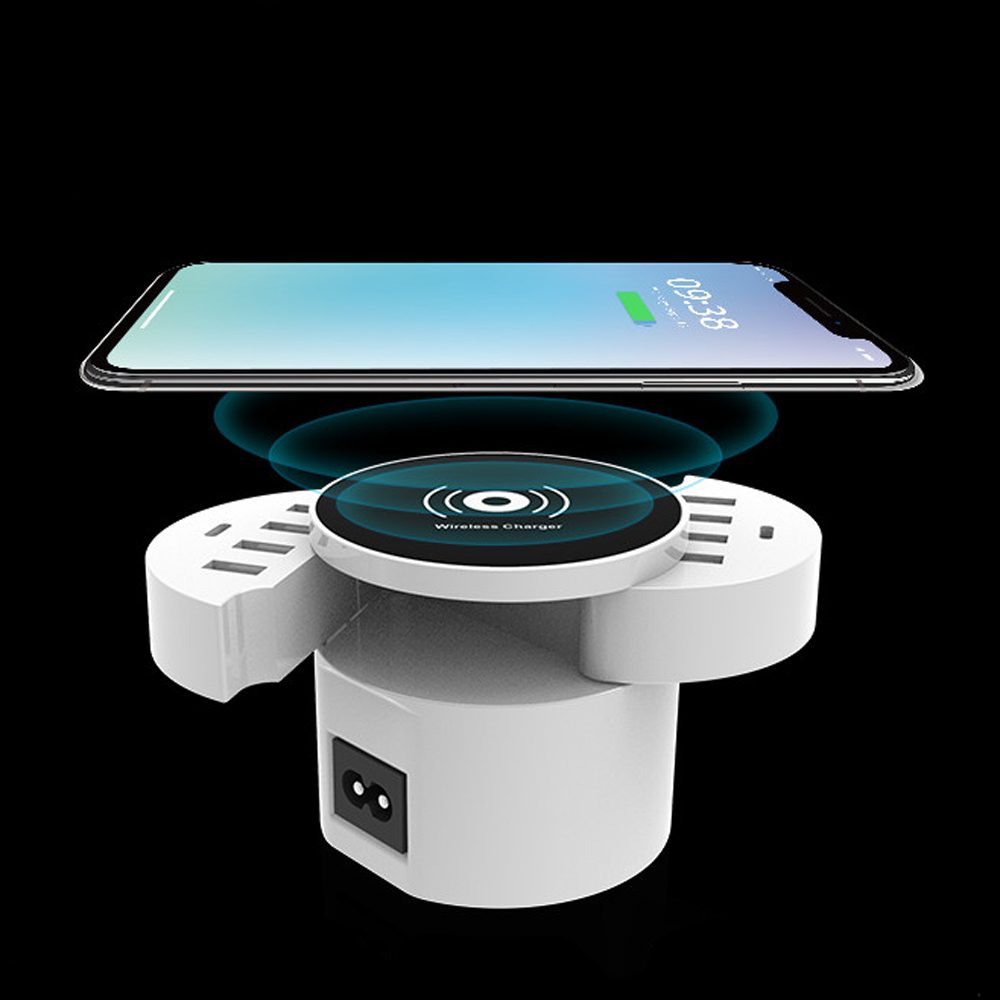 Qi Wireless Charger + Universal 8 USB Charger Port Smart Dock Station 2 Type C Power Adapt