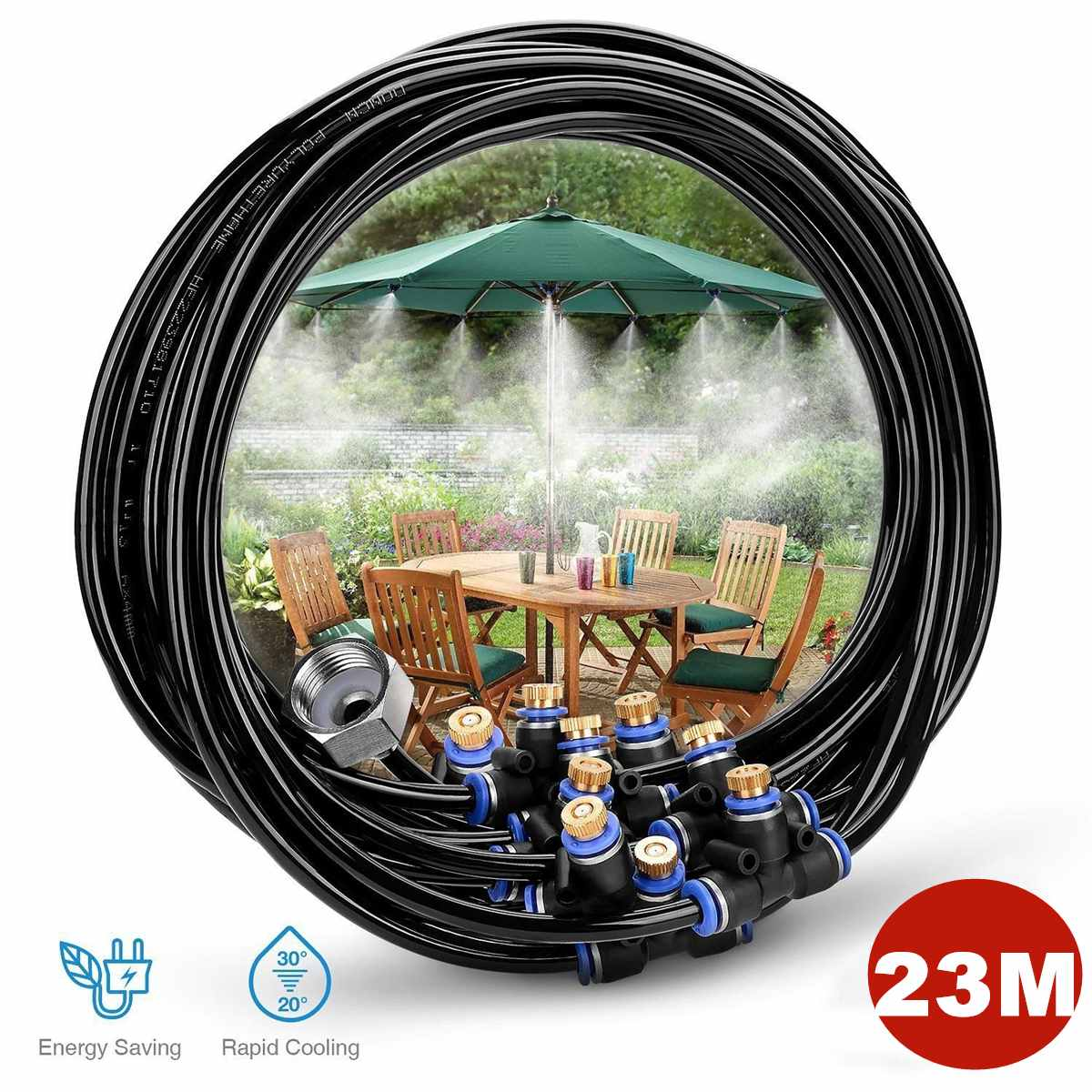 Irrigation Tools Outdoor Garden Sprinkler Watering Kit Patio Cooling System Water Spray Misting Atomizer 23M Line 3/4 ConnectorIrrigation Tools Outdoor Garden Sprinkler Watering Kit Patio Cooling System Water Spray Misting Atomizer 23M Line 3/4 Connector