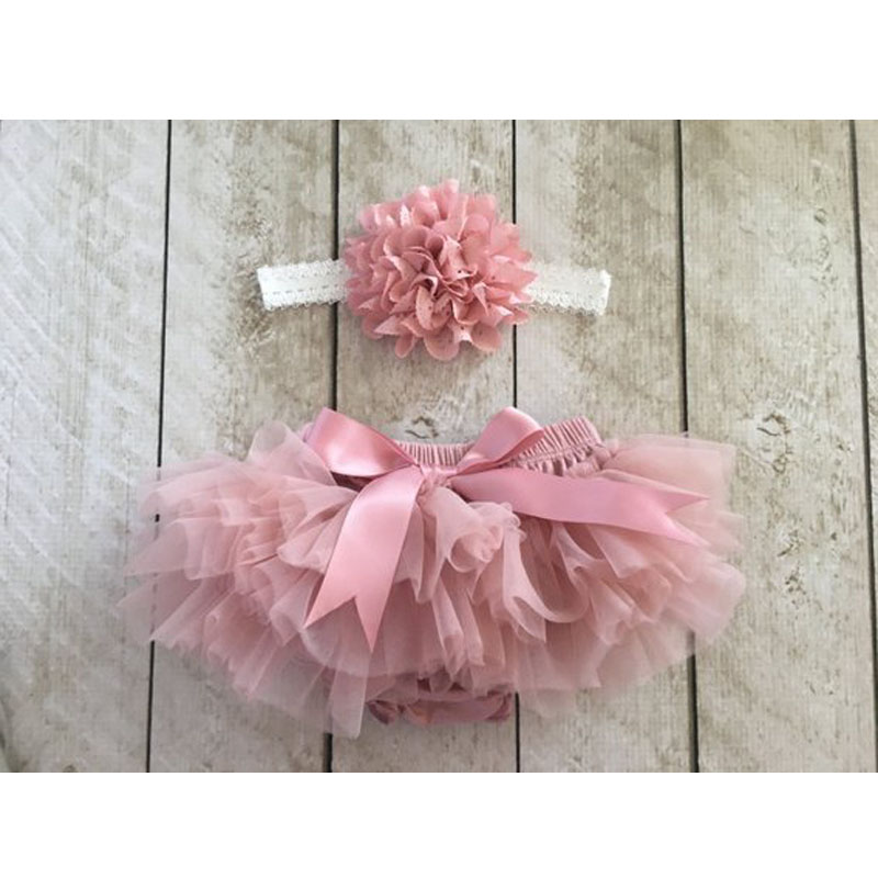 Newborn 1st Birthday 2Pcs Outfits Set Pink Floral Romper+Diaper Cover Bloomers Skirt Headband