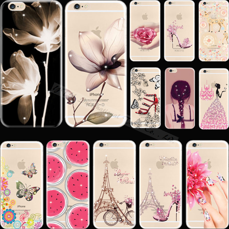 Girl Figure Behind With Diamond Silicon Phone Shell Cover For Apple iPhone 5C iPhone5C Case Cases DOK KXU DKN VNHZ