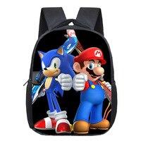 Super Mario Printing Backpack Children Cartoon Sonic Backpacks Boys Girls SchoolBag For Kindergarten Daily Backpack Kids
